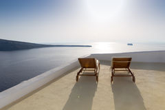 Idyllic terrace in Oia, Santorini, Greece Royalty Free Stock Photo