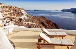 Idyllic terrace in Oia, Santorini island Royalty Free Stock Photos