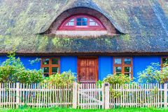 Idyllic thatched-roof cottage at the Lieper Winkel, Usedom, Germany Royalty Free Stock Photo