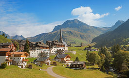 Idyllic tourist resort st antonien, canton grisons switzerland. Idyllic tourist resort st antonien in mountain landscape, canton grisons switzerland Stock Photos