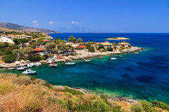 Idyllic town. Idyllic little town at the sea on the island of Zakynthos in summer Royalty Free Stock Photography