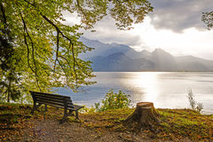Idyllic tranquil place at the lakeside walchensee, upper bavaria Royalty Free Stock Image