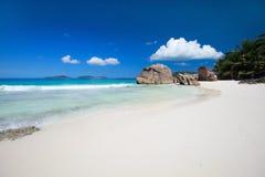 Idyllic tropical beach. On La Digue island at Seychelles Stock Images