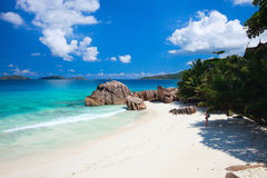 Idyllic tropical beach. On La Digue island at Seychelles Royalty Free Stock Image