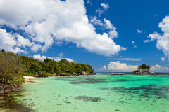 Idyllic tropical beach. On Mahe island at Seychelles Stock Photos