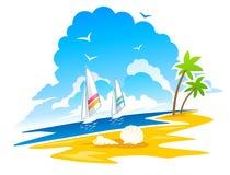 Idyllic tropical beach. Colorful illustration of idyllic tropical, beach in summer with yachts in sea; white background Royalty Free Stock Images