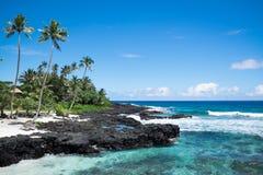 Idyllic tropical beach with blue sea and sky at Lefaga, Matautu,. Upolu Island, Western Samoa, South Pacific Royalty Free Stock Photo