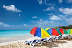 Idyllic tropical beach at Caribbean Stock Photo