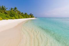 Idyllic tropical beach landscape for background or wallpaper. Design of tourism for summer vacation holiday destination concept. Tranquil beach scene. Exotic Stock Image
