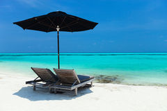 Idyllic tropical beach at Maldives Stock Images