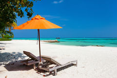 Idyllic tropical beach at Maldives Royalty Free Stock Images