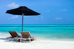 Idyllic tropical beach at Maldives Stock Images