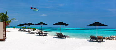 Idyllic tropical beach at Maldives Stock Photos