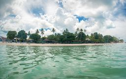 Idyllic tropical beach, palm, white sand and crystal clear water. Amazing beach. Landscape for background or wallpaper. Koh Samui, Thailand stock photos