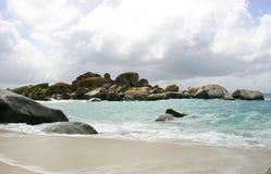 Idyllic tropical beach scene. Rocks on idyllic Baths beach, Virgin Gorda island, British Virgin Islands Stock Photo