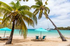 Idyllic beach at Caribbean. Idyllic tropical beach with white sand, palm trees and turquoise Caribbean sea water on Mayreau island in St Vincent and the royalty free stock image