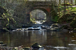 Idyllic tumbling May Beck River under Beck Lane Bridge near Falling Foss Royalty Free Stock Images