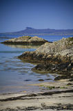 Idyllic turquoise sea, beach and Island of Eigg Stock Image