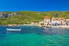 Idyllic turquoise waterfront of Komiza Royalty Free Stock Photo