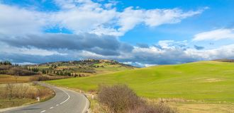 Idyllic Tuscan landscape and Pienza skyline, Val dOrcia, Italy Royalty Free Stock Images