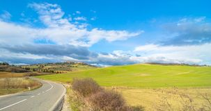 Idyllic Tuscan landscape and Pienza skyline, Val dOrcia, Italy Royalty Free Stock Photography