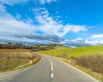 Idyllic Tuscan landscape and Pienza skyline, Val dOrcia, Italy Stock Photography