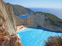Idyllic view of beautiful Navagio Beach on Zakynthos Island Royalty Free Stock Photos