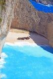 Idyllic view of beautiful Navagio Beach on Zakynthos Island Stock Photo