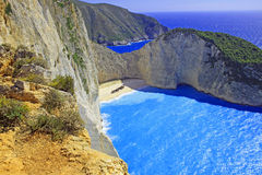 Idyllic view of beautiful Navagio Beach on Zakynthos Island Royalty Free Stock Photo