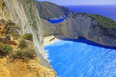 Idyllic view of beautiful Navagio Beach on Zakynthos Island Royalty Free Stock Photo
