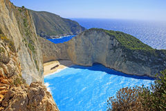 Idyllic view of beautiful Navagio Beach on Zakynthos Island Stock Photo