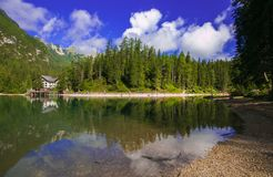Idyllic view of Braies lake in the italian Dolomites, Alto Adige. Idyllic view of Braies lake in the italian Dolomites, Italy, Europe royalty free stock image
