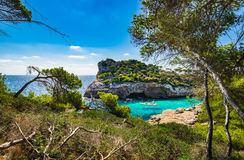 Idyllic view of Cala Moro bay Majorca Mallorca Spain. Beautiful island scenery, Majorca Spain idyllic bay of Cala Moro, Mediterranean Sea, Mallorca Balearic Royalty Free Stock Photos