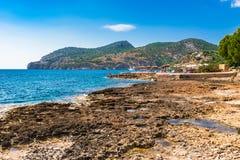 Majorca, seaside landscape at bay of Camp de Mar. Idyllic view of Camp de Mar, coast and beach Mallorca island, Spain Mediterranean Sea Stock Image