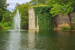 Idyllic view of the city wall of Maastricht. In the city park royalty free stock image