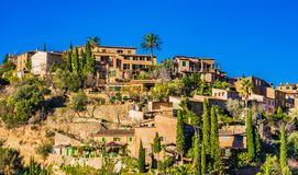 Beautiful village Deia on Majorca island, Spain. Idyllic view of Deia old village on Majorca, at Serra de Tramuntana mountains, Spain Balearic islands royalty free stock photo