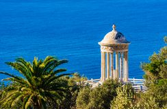 Temple of Son Marroig at the coast of Majorca island, Spain. Idyllic view of the famous Temple of Son Marroig on Mallorca, Balearic Islands stock photo