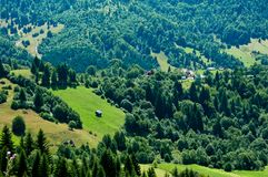 Idyllic view of a green valley in rural Romania Royalty Free Stock Images