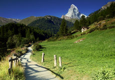 Idyllic view from hiking trail on Matterhorn in Pennine Alps, Switzerland. Stock Images