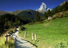 Idyllic view from hiking trail on Matterhorn in Pennine Alps, Switzerland. Landscape from Pennine Alps with Matterhorn, Switzerland Stock Images