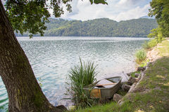Idyllic view of Lake Levico in Trentino, Italy stock photography