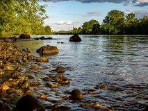 Idyllic view over a riverbank. A Idyllic view over a riverbank stock photography