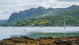 Idyllic view of Plockton, village in the Highlands of Scotland in the county of Ross and Cromarty. stock photo