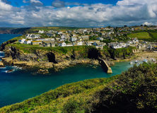 Idyllic view of Port Isaac village in Cornwall on the atlantic ocean Stock Photography