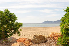 Idyllic view from the shore at the ocean. This photo shows a scene on Ibiza Stock Images
