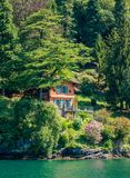 Idyllic villa near Ossuccio, small and beautiful village overlooking Lake Como, Lombardy Italy. Ossuccio is a comune in the Province of Como in the Italian royalty free stock images
