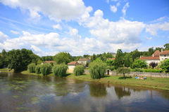 Idyllic village next to river, Bourdeilles, Dordogne, France Stock Photos