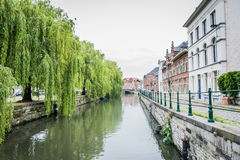 Idyllic water. In the citty of ghent Stock Photography