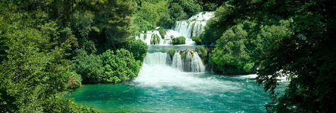 Idyllic Waterfall. In Forest. Krka National Park in Croatia Stock Photos