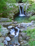 Idyllic waterfall in forest of Alps Royalty Free Stock Photo